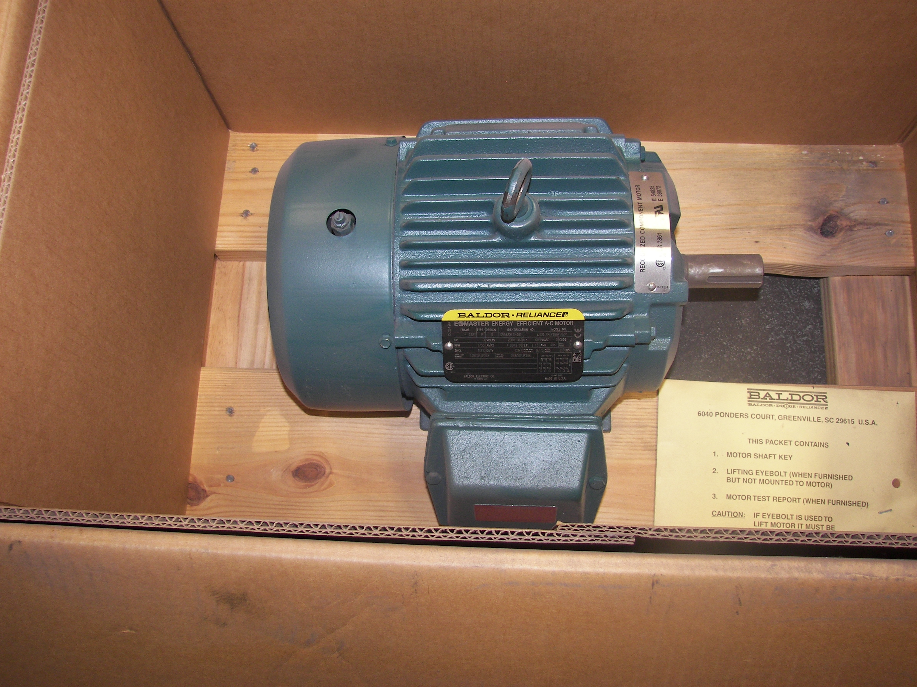 Reliance 3hp 182t 1800 p18g4902 brehob for Electric motor repair indianapolis