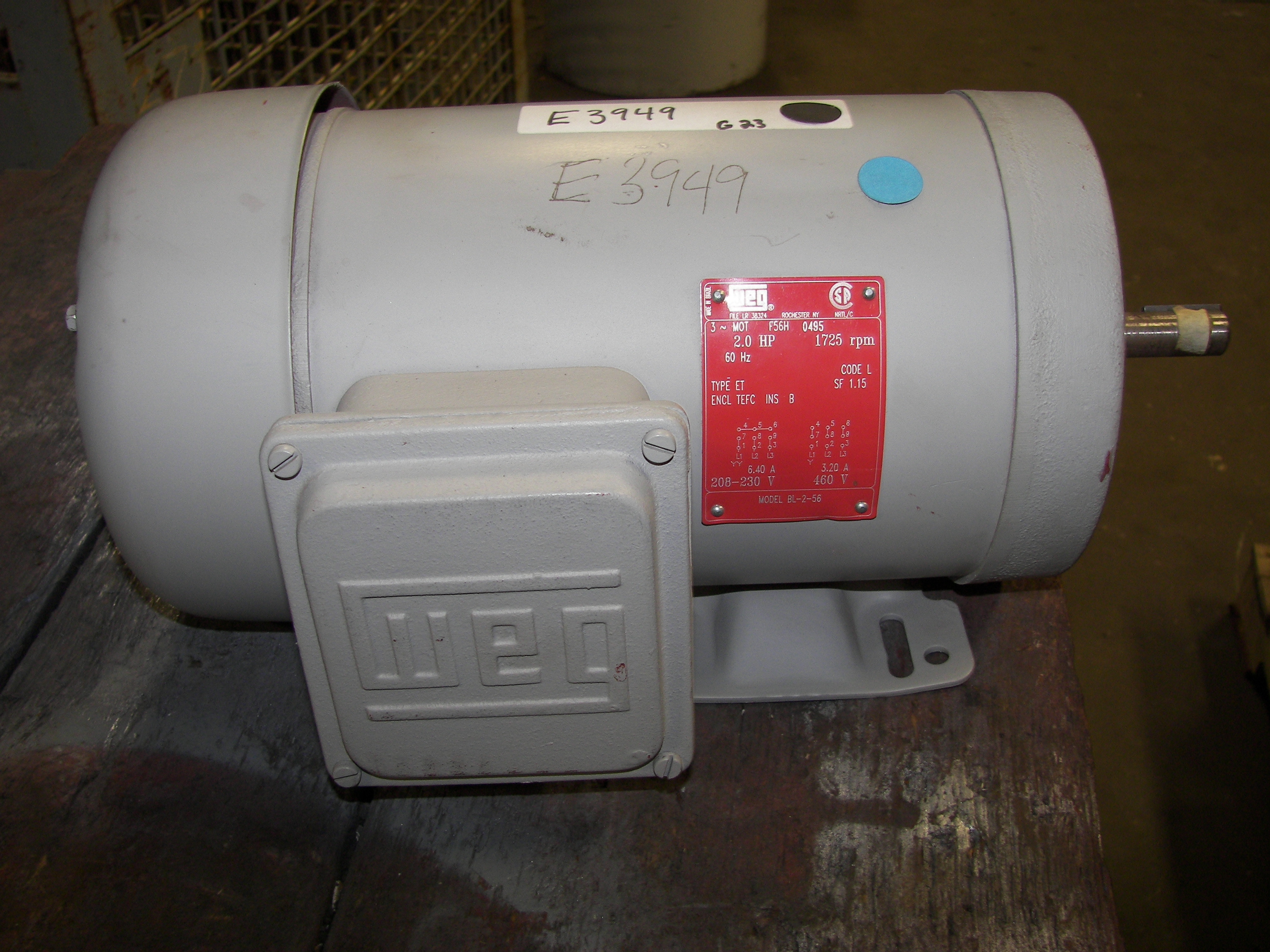 Weg 2hp 1800 bl 2 18 56 brehob for Electric motor repair indianapolis