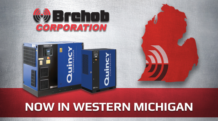 "Quincy air compressors next to the state of Michigan headline ""Now In Western Michigan"""